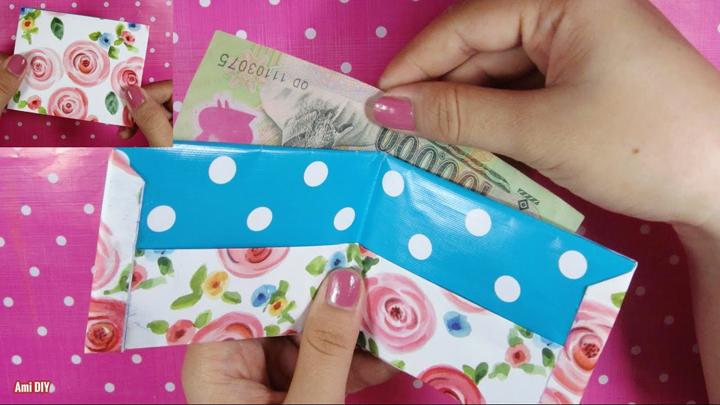 Cách làm ví tiền bằng giấy gấp đôi