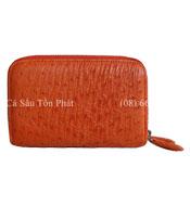 Ví da đà điểu nữ 2 khoá kéo, màu cam vàng - 4907 Bh 3 năm giá rẻ!