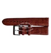 Dây đồng hồ cá sấu hoa cà  cost 18mm - 2077