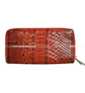 Ví da trăn nữ 1 khóa kéo và nút bấm màu cam Bh 3 năm tại Kiều Hưng
