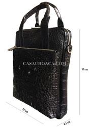 Túi đeo chéo nam da cá sấu da nguyên con cao cấp màu đen - A0166