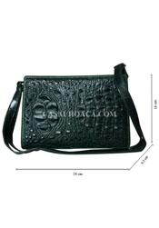 Bóp đầm da cá sấu cao cấp màu xanh đan viền - DA0008