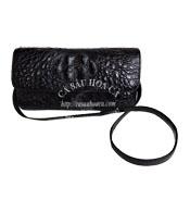 Bóp đầm cá sấu nguyên con màu đen Hoa Cà - A0556