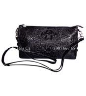 Bóp đầm nữ da cá sấu Hoa Cà da nguyên con - A0173