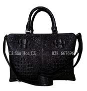 Túi xách nam da cá sấu Hoa Cà da nguyên con - A0162