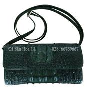 Bóp đầm cá sấu hoa cà da nguyên con - A0556