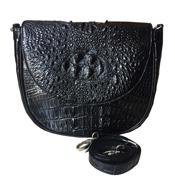 Túi đeo chéo Cá Sấu Kiều Hưng KH7499 kiểu lưỡi liềm. Đen Giảm 50%
