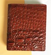 Bóp đứng da cá sấu Kiều Hưng TH080 nâu đỏ. BH 3 năm, hàng có sẵn