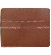 Bóp da bò nam phối vải jean, màu nâu bò KH239 BH 12 tháng. Giá rẻ