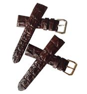 Dây đồng hồ da đuôi cá sấu con màu nâu bản 20mm- A2068 Hàng Hiếm