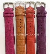 Dây đồng hồ da cá sấu Hoa Cà cost 18mm - 2074