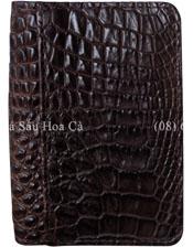 Ví card da cá sấu Hoa Cà da hông màu nâu - 1174