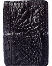 Ví card da cá sấu Hoa Cà da hông - 1174