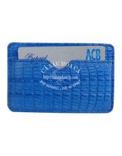 Ví card cá sấu Hoa Cà màu xanh dương - 1175