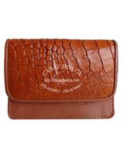 Ví namecard da cá sấu màu cam vàng - 1072