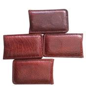 Kẹp tiền da đà điểu màu nâu đỏ hít nam châm mạnh giá rẻ Kiều Hưng