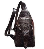 Túi đeo chéo da cá sấu còn nguyên đầu màu nâu giá rẻ nhất BH 3 năm
