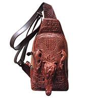 Túi đeo chéo da cá sấu da nguyên đầu và bàn tay nâu đỏ BH 3 năm HOT