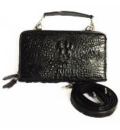Túi đeo chéo da cá sấu nữ LM4299 màu đen BH 3 năm, đổi trả 30 ngày