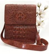 Túi đeo chéo da cá sấu nguyên con có bông cổ chuyên dùng Ipad 7707