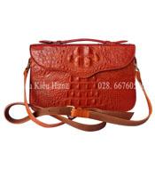 Túi đeo chéo nữ da cá sấu, màu cam vàng BH 3 năm Cá Sấu Kiều Hưng