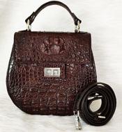 Túi đeo chéo nữ da cá sấu màu nâu BH 3 Năm tại Cá Sấu Kiều Hưng