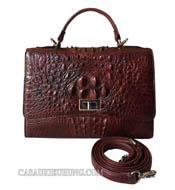 Túi xách nữ da cá sấu màu nâu đỏ hàng hiệu giá rẻ Cá Sấu Kiều Hưng