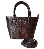 Túi xách da cá sấu nữ cầm tay màu nâu giá rẻ tại Cá Sấu Kiều Hưng