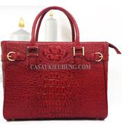 Túi xách nữ da cá sấu cầm tay loại lớn màu đỏ- 7747 của kiều hưng