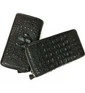Ví nữ cầm tay da cá sấu hai khóa kéo loại lớn màu đen - 7894
