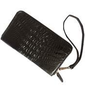 Ví da cá sấu cầm tay kiểu 1 khóa kéo màu đen giá rẻ tại Kiều Hưng