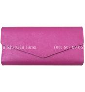 Ví da bò nữ 3 gấp, hồng tím - 636, giá rẻ. Bh 3 năm tại Kiều Hưng