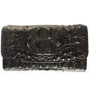 Ví nữ da cá sấu 3 gấp da nguyên con màu đen giá rẻ tại Kiều Hưng